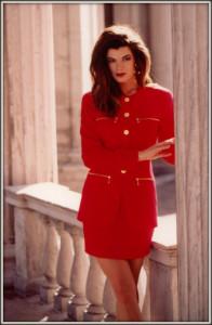 Maxine modeling Armani suit