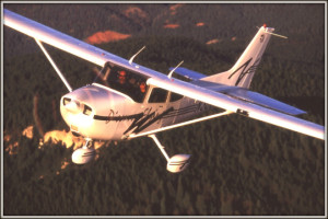 Maxine flying a single-engine Cessna airplane