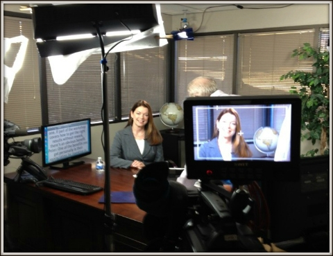 Maxine on set at a corporate video shoot